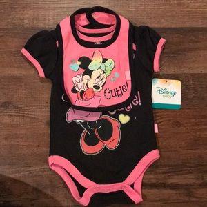 Disney 3-6M onesie with bib